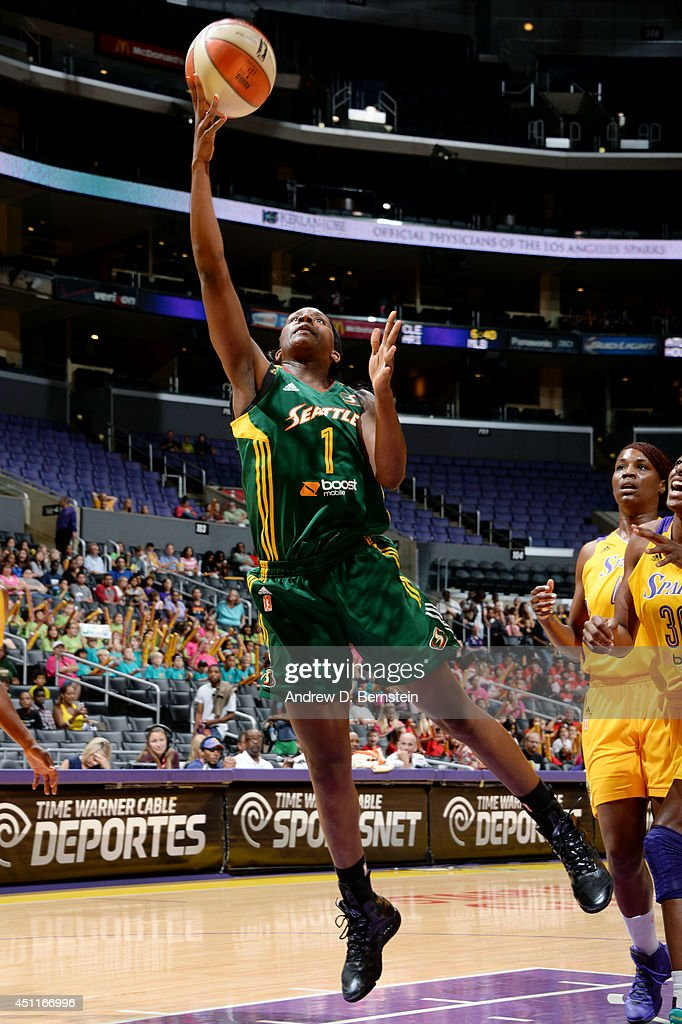 <a gi-track='captionPersonalityLinkClicked' href=/galleries/search?phrase=Crystal+Langhorne&family=editorial&specificpeople=700514 ng-click='$event.stopPropagation()'>Crystal Langhorne</a> #1 of the Seattle Storm shoots against the Los Angeles Sparks at STAPLES Center on June 24, 2014 in Los Angeles, California.