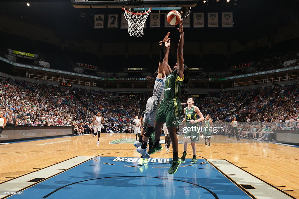 Crystal Langhorne of the Seattle Storm shoots against the Minnesota Lynx during the game on July 22 2016 at Target Center in Minneapolis Minnesota...
