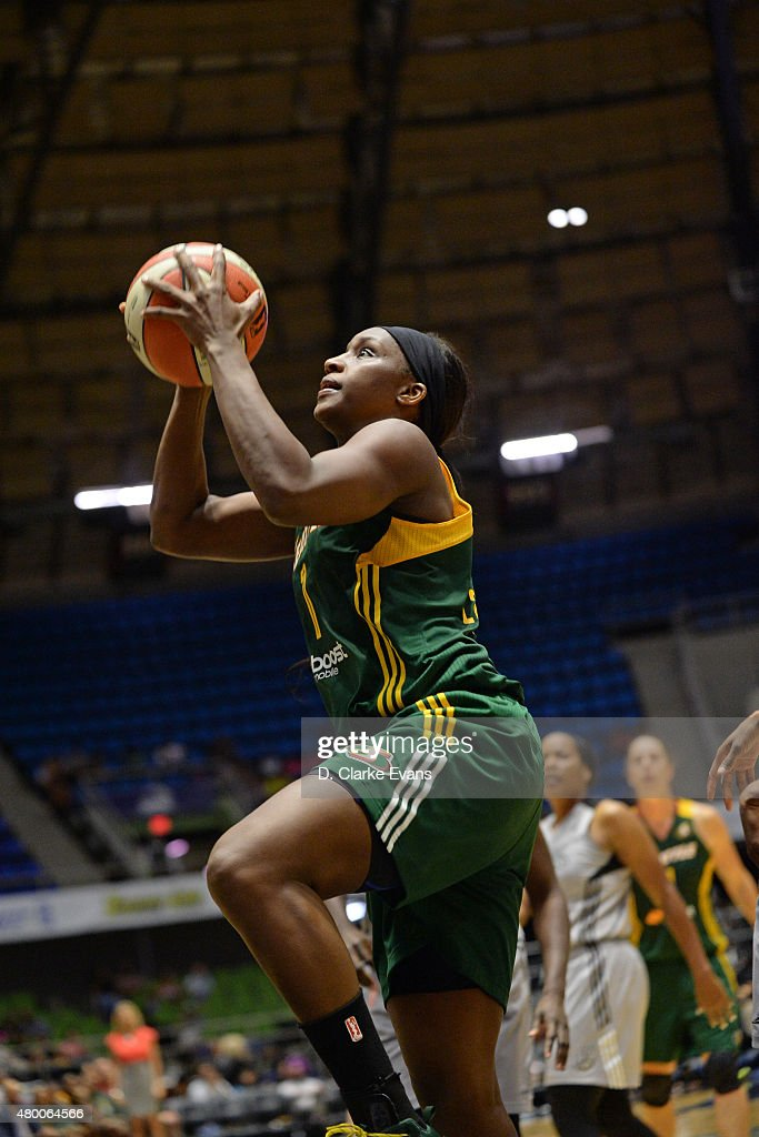 <a gi-track='captionPersonalityLinkClicked' href=/galleries/search?phrase=Crystal+Langhorne&family=editorial&specificpeople=700514 ng-click='$event.stopPropagation()'>Crystal Langhorne</a> #1 of the Seattle Storm shoots against the San Antonio Stars during the game on June 27, 2015 at Freeman Coliseum in San Antonio, Texas.