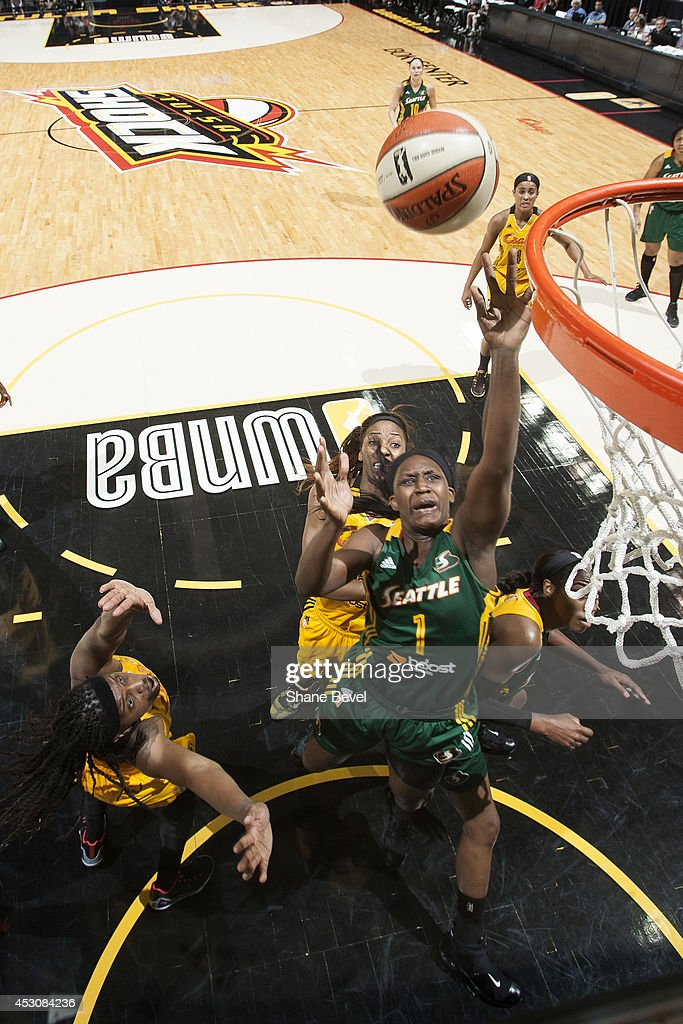 <a gi-track='captionPersonalityLinkClicked' href=/galleries/search?phrase=Crystal+Langhorne&family=editorial&specificpeople=700514 ng-click='$event.stopPropagation()'>Crystal Langhorne</a> #1 of the Seattle Storm shoots the ball against the Tulsa Shock during the WNBA game on July 29, 2014 at the BOK Center in Tulsa, Oklahoma.