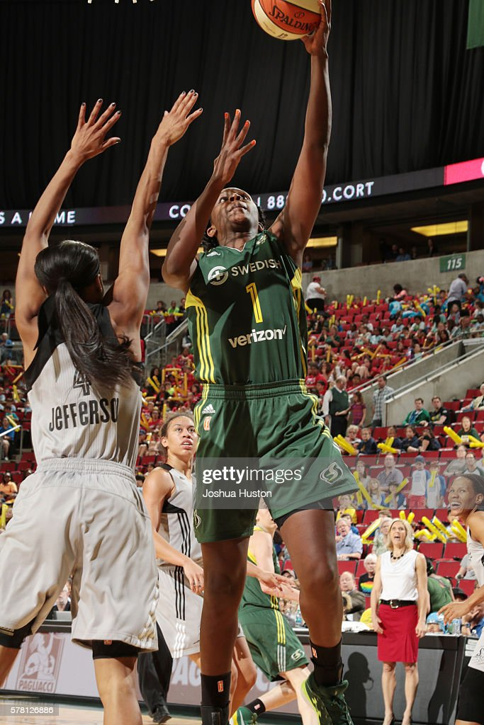 Crystal Langhorne of the Seattle Storm shoots the ball against the San Antonio Stars on July 20 at Key Arena in Seattle Washington NOTE TO USER User...