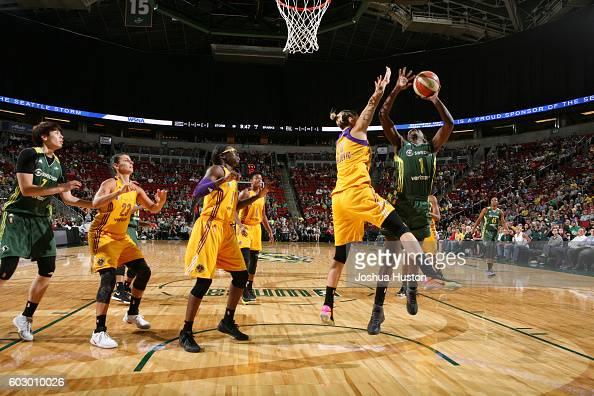 Crystal Langhorne of the Seattle Storm shoots the ball against the Los Angeles Sparks on September 11 2016 at Key Arena in Seattle Washington NOTE TO...