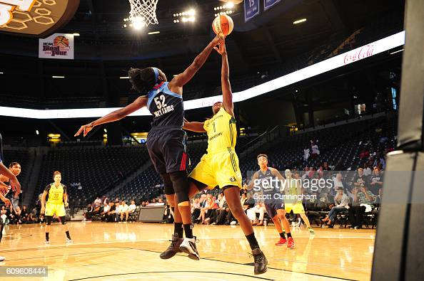 Crystal Langhorne of the Seattle Storm shoots the ball against the Atlanta Dream during Round One of the 2016 WNBA Playoffs on September 21 2016 at...