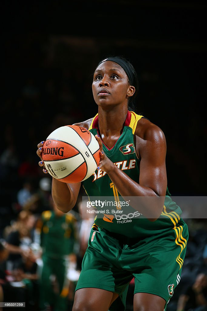 <a gi-track='captionPersonalityLinkClicked' href=/galleries/search?phrase=Crystal+Langhorne&family=editorial&specificpeople=700514 ng-click='$event.stopPropagation()'>Crystal Langhorne</a> #1 of the Seattle Storm takes a free throw against the New York Liberty at Madison Square Garden in New York City on May 27, 2014.
