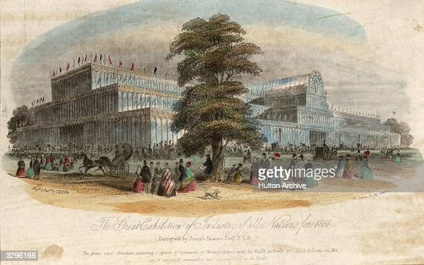 Crystal Palace a large building of iron and glass built and designed at Hyde Park London by Joseph Paxton English gardener and architect The design...