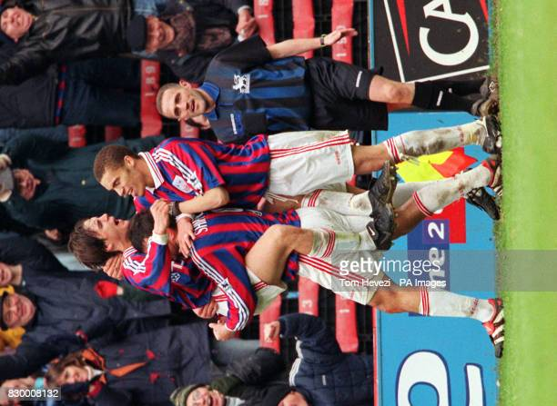 Crystal Palace celebrate Matt Jansen's goal with teammates Shipperley and Valerien Ismael during today's FA Carling Premiership match against Derby...