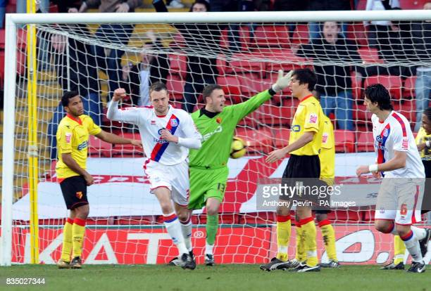 Crystal Palace Clint Hill celebrates scoring during the FA Cup Fourth Round at Vicarage Road Watford