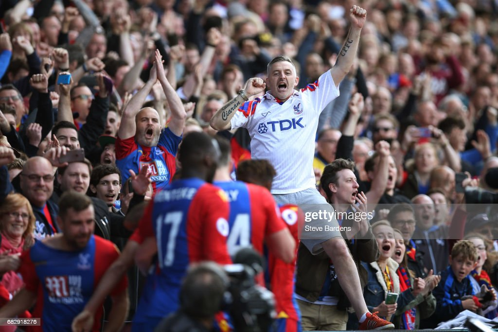 A Crystal Palace fan celebrates his team scoring their third goal during the Premier League match between Crystal Palace and Hull City at Selhurst Park on May 14, 2017 in London, England.
