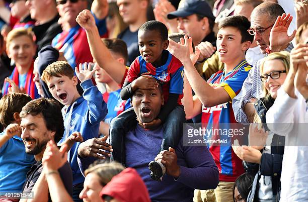 Crystal Palace fans celebrate after scoring their 1st goal during the Barclays Premier League match between Crystal Palace and West Bromwich Albion...