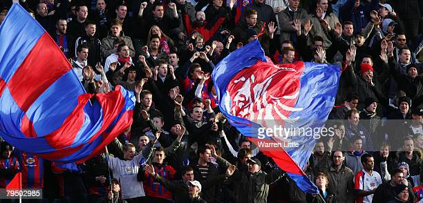 Crystal Palace fans cheer on their team during the CocaCola Championship match between Crystal Palace and Southampton at Selhurst Park on February 2...