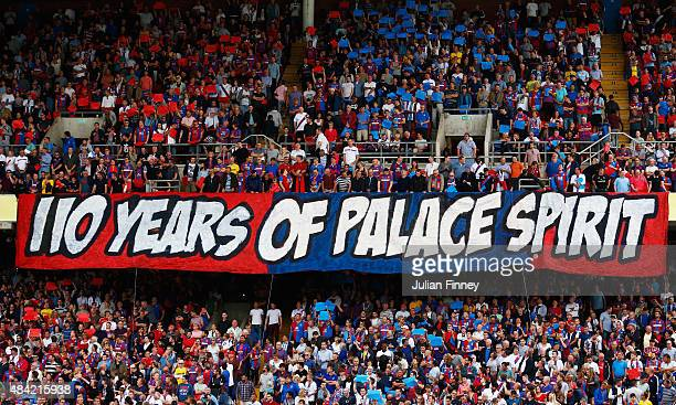 Crystal Palace fans display a banner during the Barclays Premier League match between Crystal Palace and Arsenal at Selhurst Park on August 16 2015...