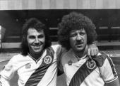 Crystal Palace footballers Mike Flanagan and Gerry Francis at Selhurst Park