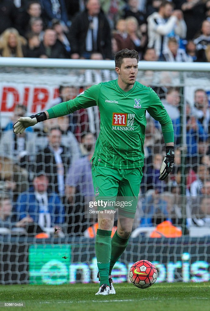 Crystal Palace Goalkeeper Wayne Hennessy looks to kick the ball into playduring the Barclays Premier League match between Newcastle United and Crystal Palace at St.James' Park on April 30, 2016, in Newcastle upon Tyne, England.