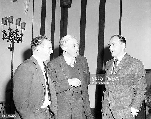 Crystal Palace manager Arthur Rowe whose team are to play Real Madrid in a friendly chats with Madrid stars Ferenc Puskas and Alfredo di Stefano