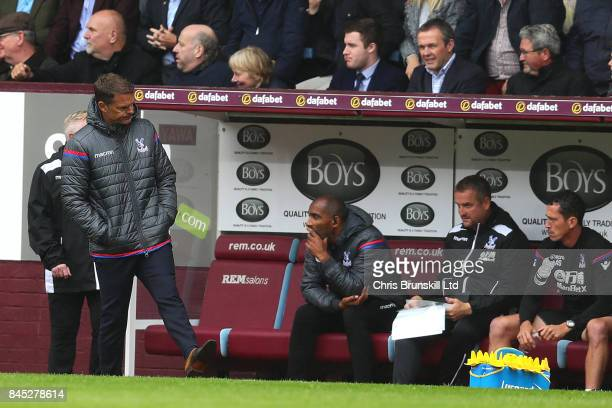 Crystal Palace manager Frank De Boer kicks a water bottle in frustration during the Premier League match between Burnley and Crystal Palace at Turf...