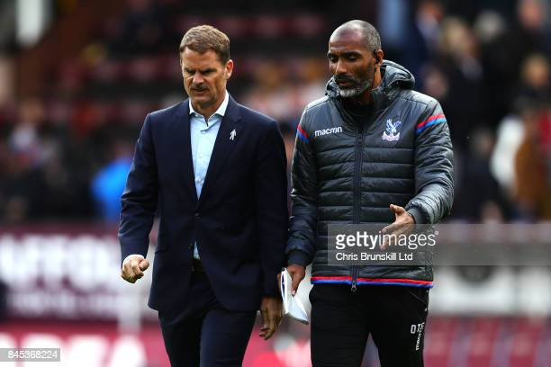 Crystal Palace manager Frank De Boer leaves the field at halftime with his assistant Orlando Trustfull during the Premier League match between...