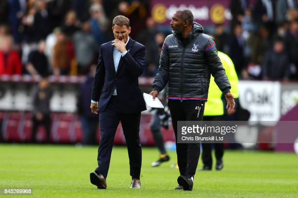 Crystal Palace manager Frank De Boer reacts as he leaves the field at halftime during the Premier League match between Burnley and Crystal Palace at...