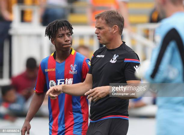 Crystal Palace manager Frank De Boer talks to Jason Lokilo of Palace before the second half during the Pre Season Friendly match bewteen Maidstone...