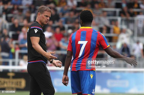 Crystal Palace manager Frank De Boer talks to Levi Lumeka of Palace before the second half during the Pre Season Friendly match bewteen Maidstone...