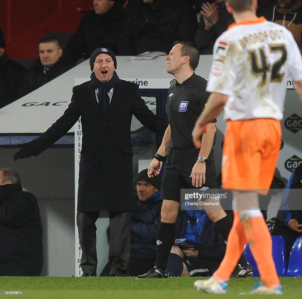 Crystal Palace manager Ian Holloway shouts at referee Kevin Stroud during the npower Championship match between Crystal Palace and Blackpool at Selhurt Park on December 08, 2012 in London, England.
