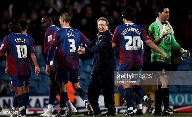 Crystal Palace Manager Neil Warnock congratulate his players after winning the CocaCola Football League Championship match between Crystal Palace and...