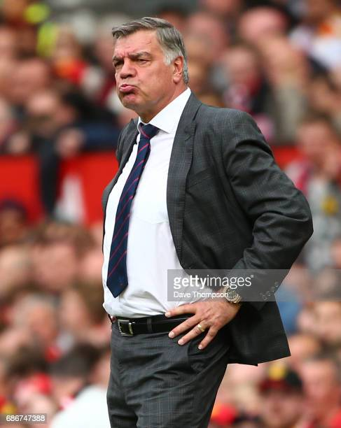 Crystal Palace manager Sam Allardyce during the Premier League match between Manchester United and Crystal Palace at Old Trafford on May 21 2017 in...