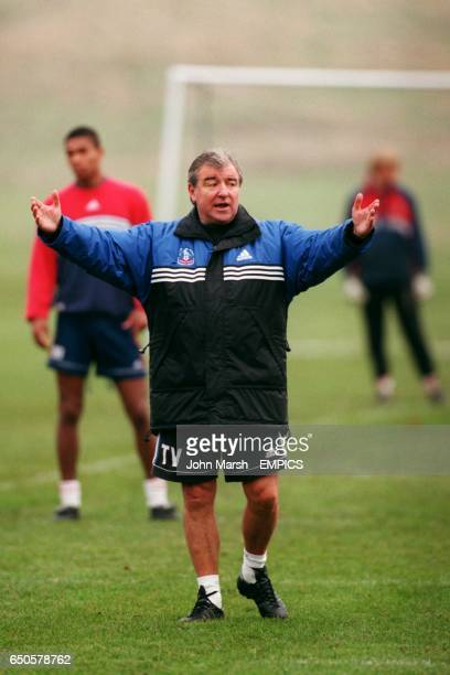 Crystal Palace manager Terry Venables takes charge of training