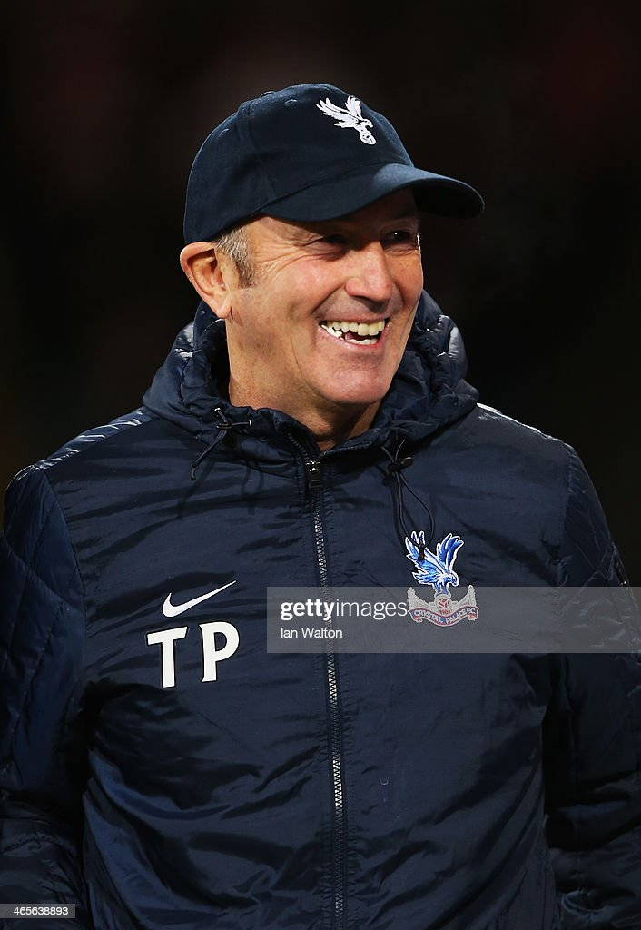 Crystal Palace manager Tony Pulis smiles prior to the Barclays Premier League match between Crystal Palace and Hull City at Selhurst Park on January 28, 2014 in London, England.
