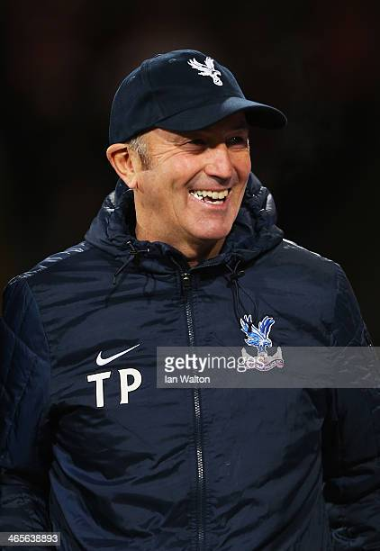 Crystal Palace manager Tony Pulis smiles prior to the Barclays Premier League match between Crystal Palace and Hull City at Selhurst Park on January...