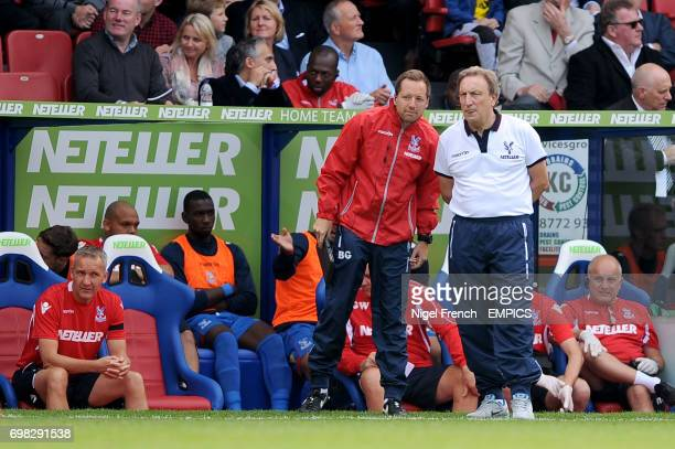 Crystal Palace manger Neil Warnock in conversation with first team coach Ben Garner on the touchline