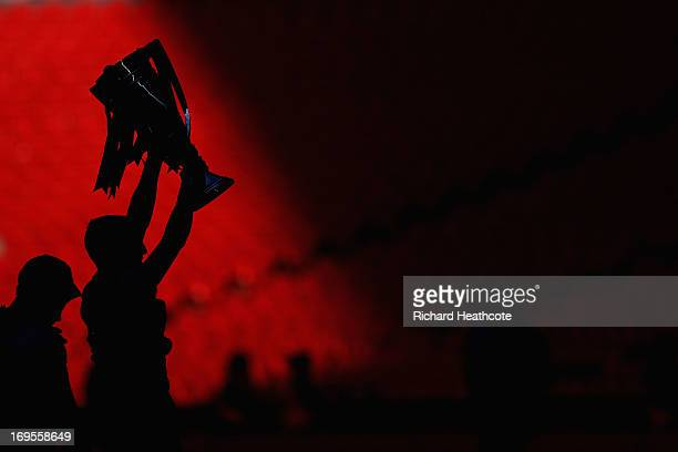 Crystal Palace player celebrates with the trophy during the npower Championship Playoff Final match between Watford and Crystal Palace at Wembley...