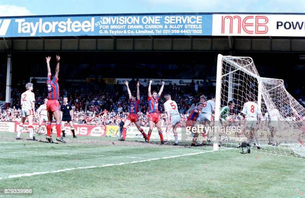 Crystal Palace players celebrate their winning goal in extra time during the FA Cup SemiFinal against holders Liverpool at Villa Park putting Palace...
