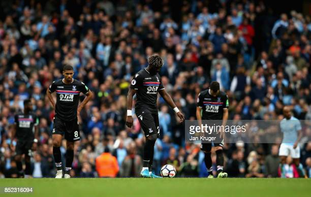 Crystal Palace players show dejection after Chelsea's fourth goal during the Premier League match between Manchester City and Crystal Palace at...