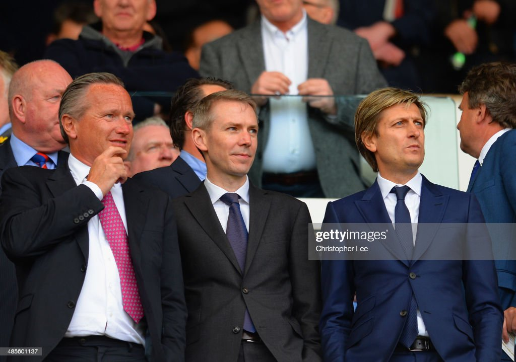 Crystal Palace sporting director Iain Moody and co-chairman Steve Parish look on during the Barclays Premier League match between West Ham United and Crystal Palace at Boleyn Ground on April 19, 2014 in London, England.
