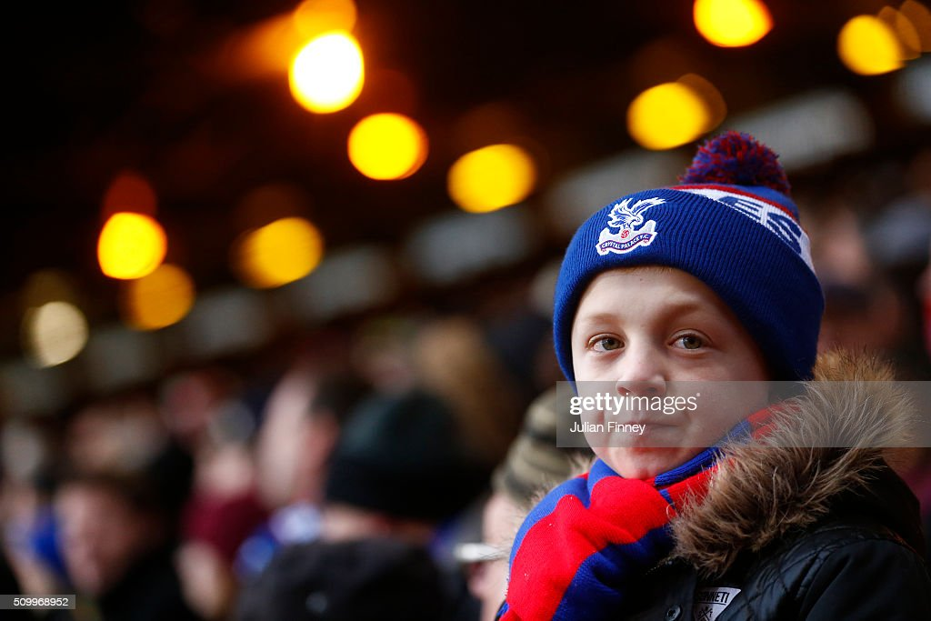 A Crystal Palace supporters is seen on the stand during the Barclays Premier League match between Crystal Palace and Watford at Selhurst Park on February 13, 2016 in London, England.