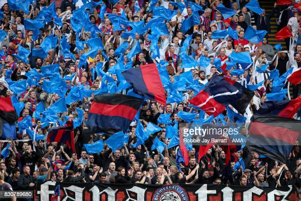 Crystal Palace ultras during the Premier League match between Crystal Palace and Huddersfield Town at Selhurst Park on August 12 2017 in London...