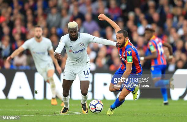 Crystal Palace's Andros Townsend and Chelsea's Tiemoue Bakayoko battle for the ball during the Premier League match at Selhurst Park London