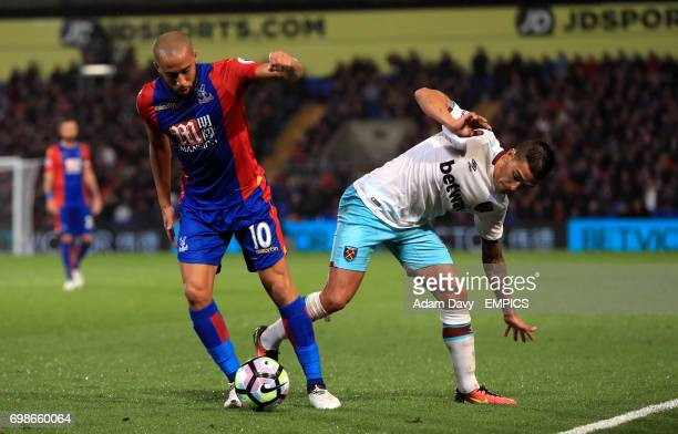 Crystal Palace's Andros Townsend and West Ham United's Manuel Lanzini battle for the ball