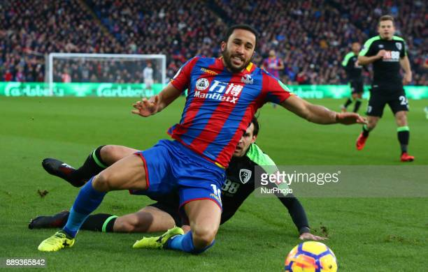 Crystal Palace's Andros Townsend gets tackled by Bournemouth's Charlie Daniels during Premier League match between Crystal Palace and AFC Bournemouth...