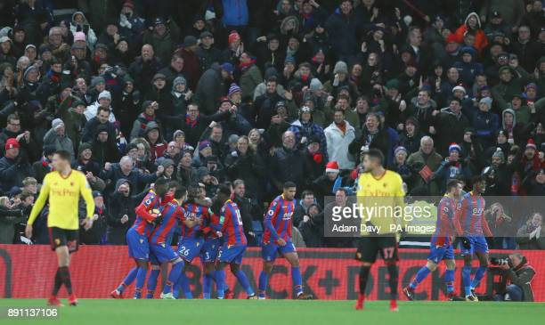 Crystal Palace's Bakary Sako celebrates scoring his side's first goal of the game with teammates during the Premier League match at Selhurst Park...