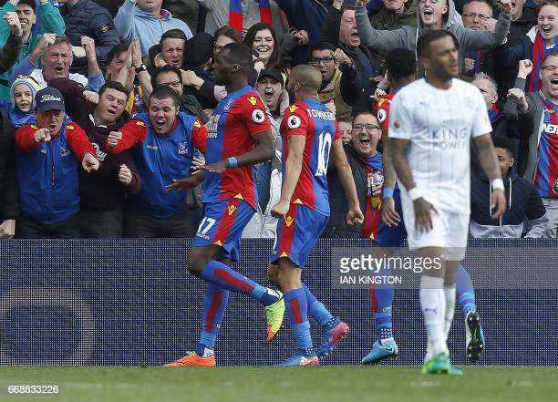 Crystal Palace's Belgium striker Christian Benteke celebrates scoring their second goal during the English Premier League football match between...