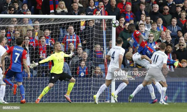 Crystal Palace's Belgium striker Christian Benteke scores their second goal during the English Premier League football match between Crystal Palace...