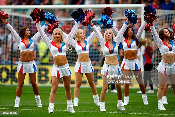Crystal Palace's cheerleaders entertain the crowd ahead of the English Premier League football match between Crystal Palace and Arsenal at Selhurst...
