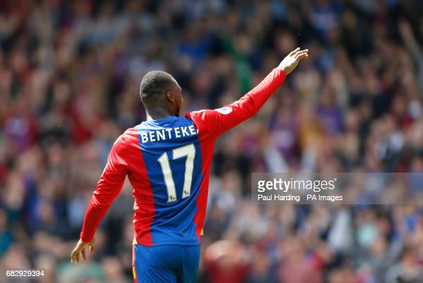 Crystal Palace's Christian Benteke celebrates scoring his side's second goal of the game during the Premier League match at Selhurst Park London