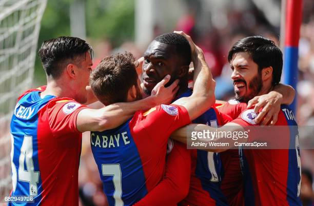 Crystal Palace's Christian Benteke celebrates scoring his sides second goal with James Tomkins during the Premier League match against Hull City at...