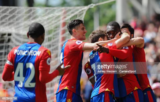 Crystal Palace's Christian Benteke celebrates scoring his sides second goal and points at Jason Puncheon during the Premier League match against Hull...