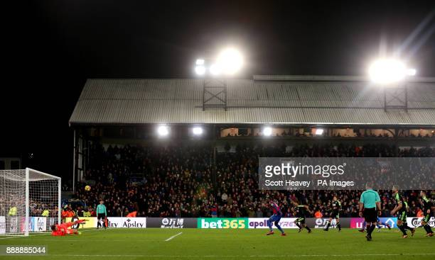 Crystal Palace's Christian Benteke misses from the penalty spot in the final stages of the game during the Premier League match at Selhurst Park...