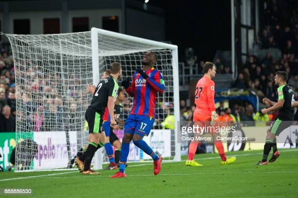 Crystal Palace's Christian Benteke reacts after seeing his penalty saved during the Premier League match between Crystal Palace and AFC Bournemouth...
