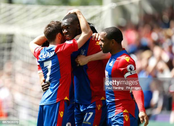 Crystal Palace's Christian Benteke scores his side's second goal of the game during the Premier League match at Selhurst Park London