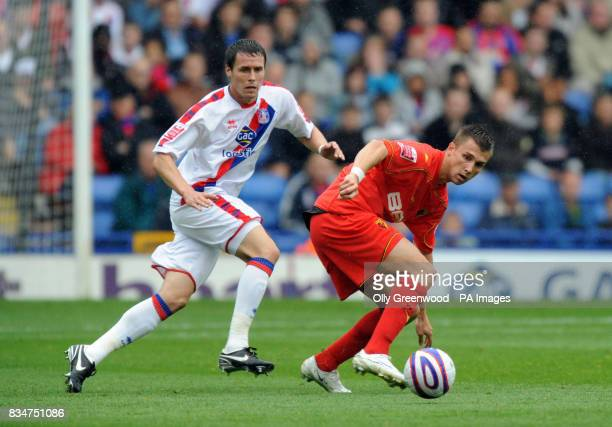 Crystal Palace's Clint Hill and Watford's Tamas Priskin in action during the CocaCola Football Championship match at Selhurst Park London